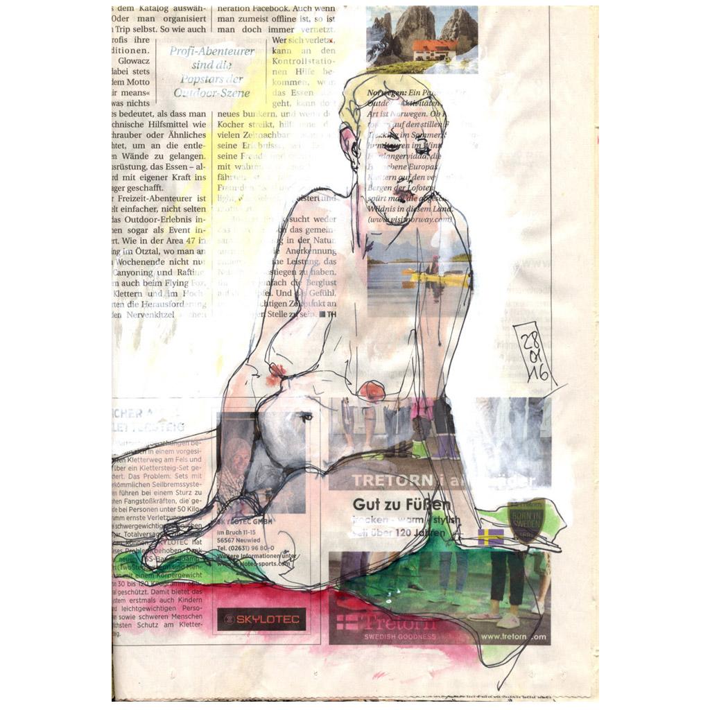 Gut zu Füßen - figürliche Zeichnung, sitzender Akt auf Zeitunsgpapier
