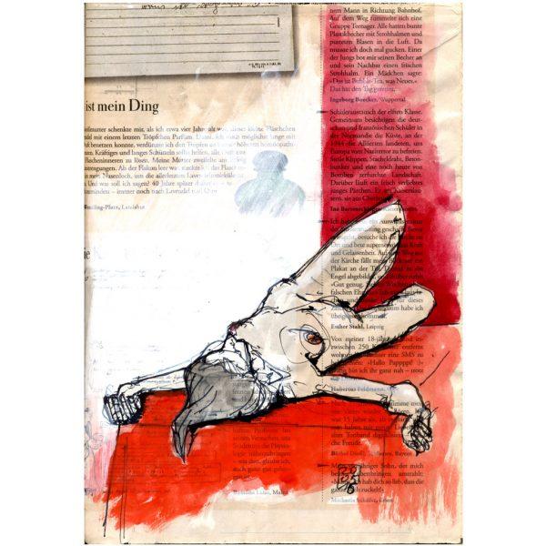 Mein Ding – Liegender Akt auf rotem Tuch, gezeichnet auf Zeitungspapier