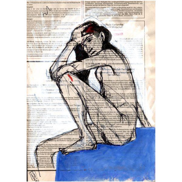 Kennzahl 333 – sitzender weiblicher Akt auf blauem Tuch, gezeichnet auf Zeitungspapier