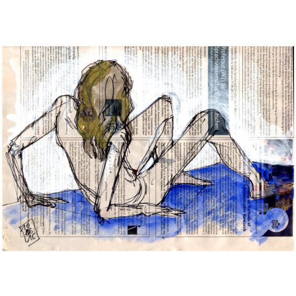 Sprachwissenschaft – Sitzender, fast aufstehender weiblicher Akt auf blauem Tuch
