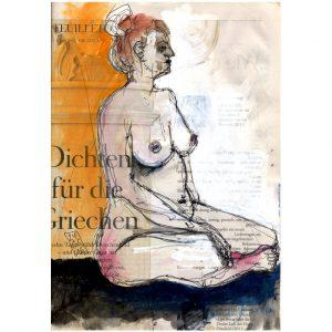 Dichten für die Griechen – Sitzender weiblicher Akt vor orange Hintergrund
