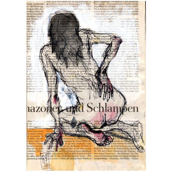 Amazonen und Schlampen – weiblicher Rückenakt auf Zeitungspapier