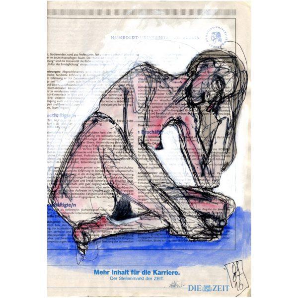Mehr Inhalt – Sitzender weiblicher Akt auf blauem Tuch