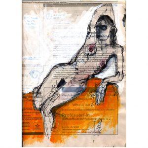 Wissen hat Zukunft – sich räkelnder weiblicher Akt auf orange Tuch