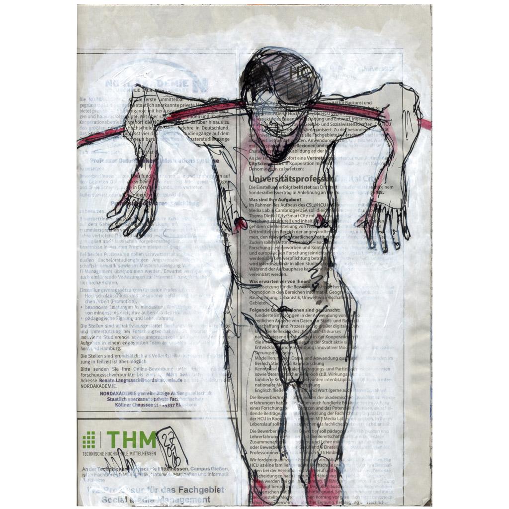 Fachgebiet – stehender männlicher Akt mit Stab
