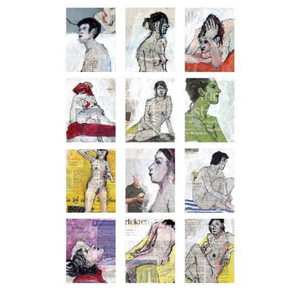 Wandkalender Din A3 mit Skizzenmotiven auf Zeitung