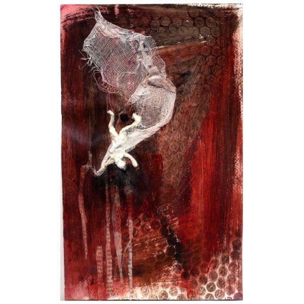 Kleine Traumphasen – Acryl auf Papier, Collage, Assemblage mit Gaze