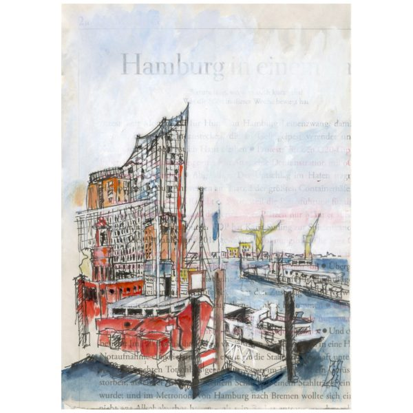 Schwer an Karten ranzukommen: Die Elbphilharmonie, davor das Feuerschiff. Skizze auf Zeitungspapier der ZEIT