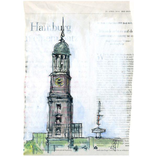 Hamburger Michel, mit Telemichel, Hamburg Skizze auf Zeigtungspapier Die Zeit